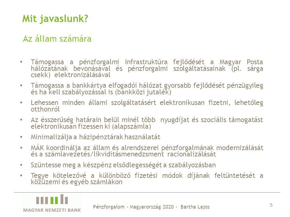 Az állam számára 5 Mit javaslunk? Támogassa a pénzforgalmi Infrastruktúra fejlődését a Magyar Posta hálózatának bevonásával és pénzforgalmi szolgáltat