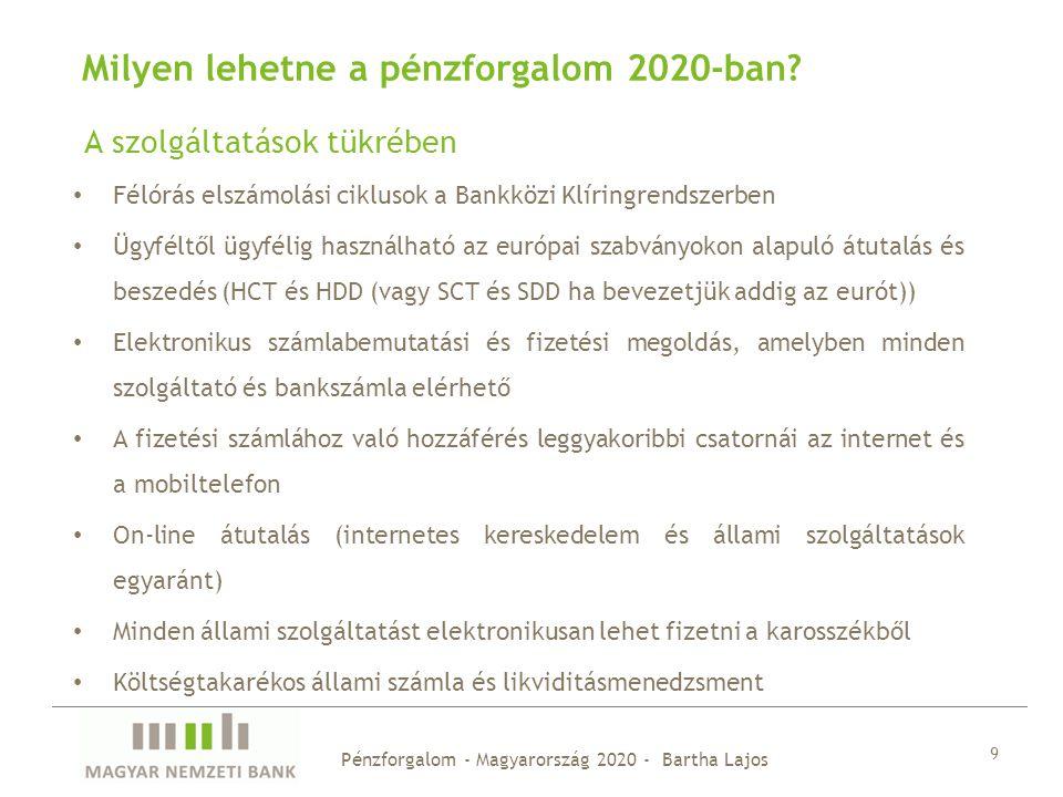 9 Milyen lehetne a pénzforgalom 2020-ban? Félórás elszámolási ciklusok a Bankközi Klíringrendszerben Ügyféltől ügyfélig használható az európai szabván