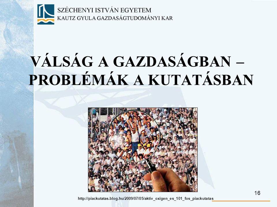 16 VÁLSÁG A GAZDASÁGBAN – PROBLÉMÁK A KUTATÁSBAN http://piackutatas.blog.hu/2009/07/05/aktiv_oxigen_es_101_fos_piackutatas