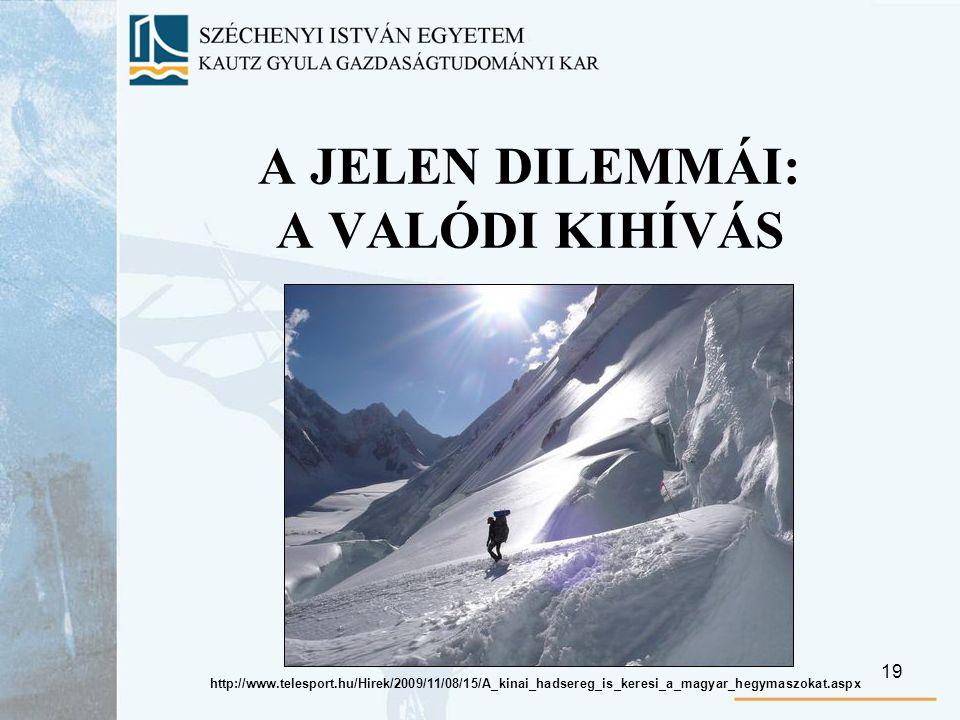 19 A JELEN DILEMMÁI: A VALÓDI KIHÍVÁS http://www.telesport.hu/Hirek/2009/11/08/15/A_kinai_hadsereg_is_keresi_a_magyar_hegymaszokat.aspx