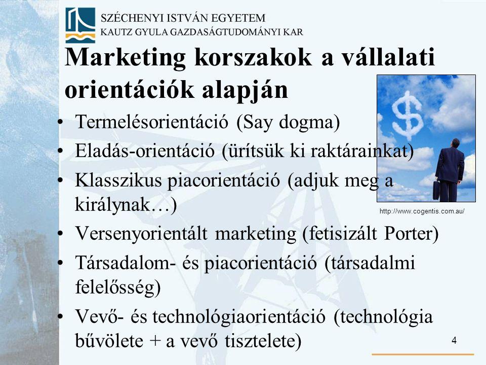 4 Marketing korszakok a vállalati orientációk alapján Termelésorientáció (Say dogma) Eladás-orientáció (ürítsük ki raktárainkat) Klasszikus piacorientáció (adjuk meg a királynak…) Versenyorientált marketing (fetisizált Porter) Társadalom- és piacorientáció (társadalmi felelősség) Vevő- és technológiaorientáció (technológia bűvölete + a vevő tisztelete) http://www.cogentis.com.au/