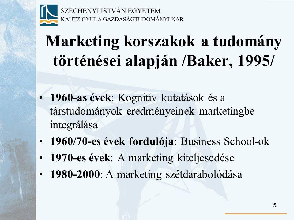5 Marketing korszakok a tudomány történései alapján /Baker, 1995/ 1960-as évek: Kognitív kutatások és a társtudományok eredményeinek marketingbe integrálása 1960/70-es évek fordulója: Business School-ok 1970-es évek: A marketing kiteljesedése 1980-2000: A marketing szétdarabolódása