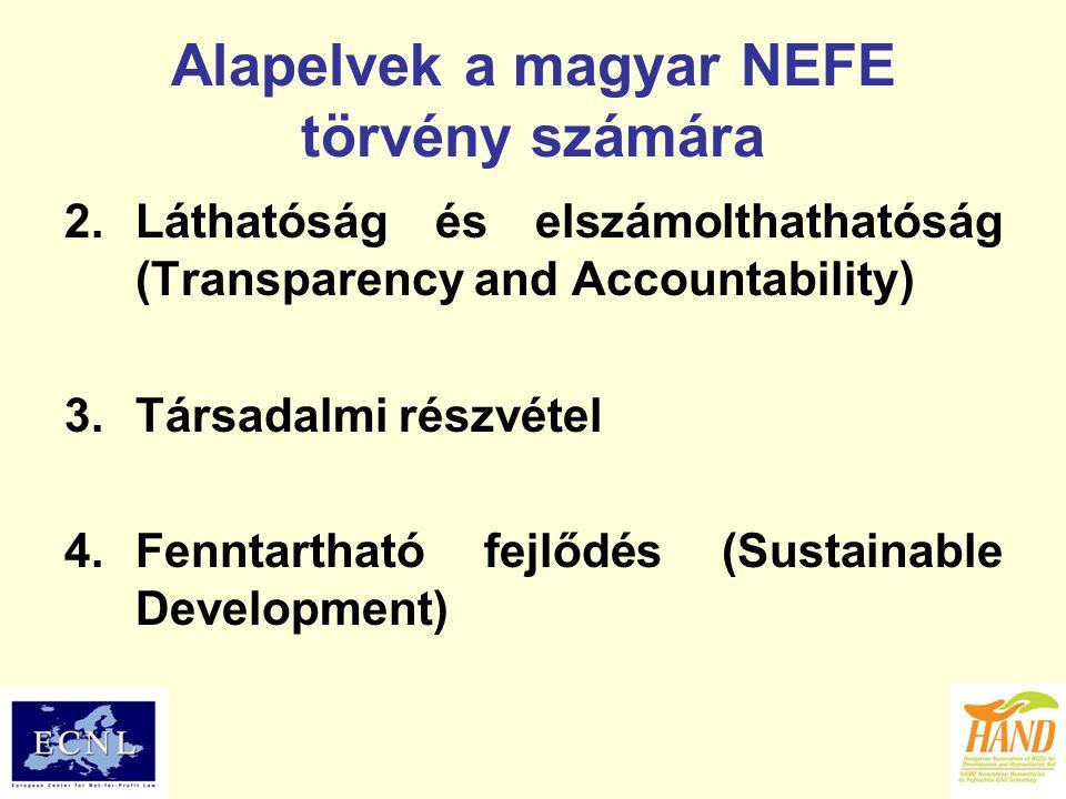 Alapelvek a magyar NEFE törvény számára 2.Láthatóság és elszámolthathatóság (Transparency and Accountability) 3.Társadalmi részvétel 4.Fenntartható fejlődés (Sustainable Development)