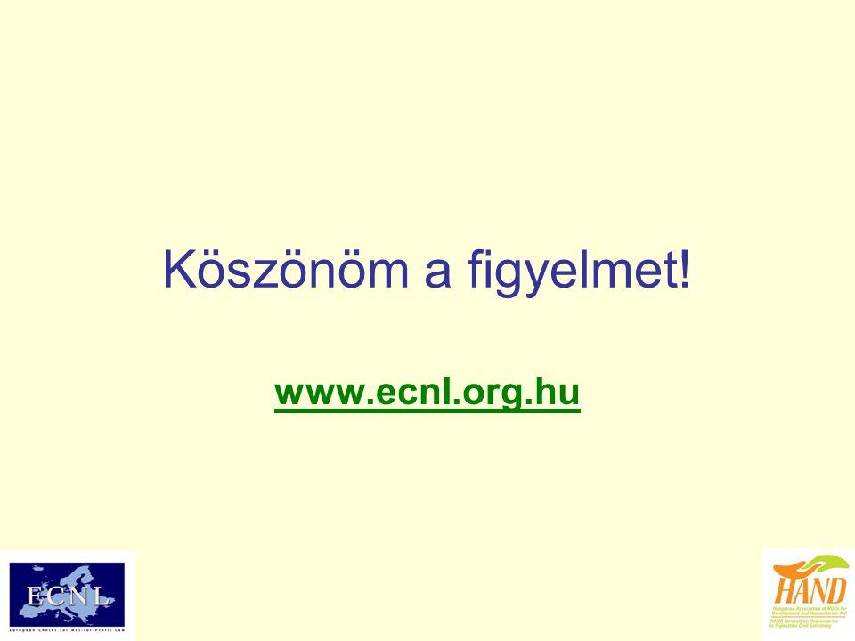 Köszönöm a figyelmet! www.ecnl.org.hu