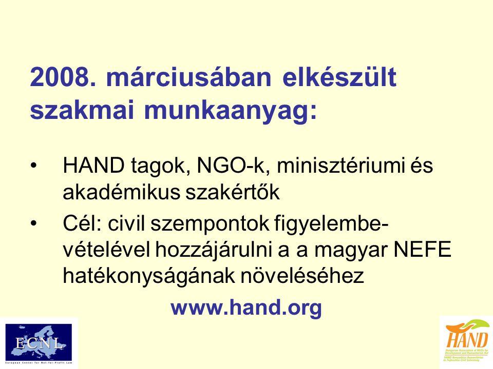 2008. márciusában elkészült szakmai munkaanyag: HAND tagok, NGO-k, minisztériumi és akadémikus szakértők Cél: civil szempontok figyelembe- vételével h