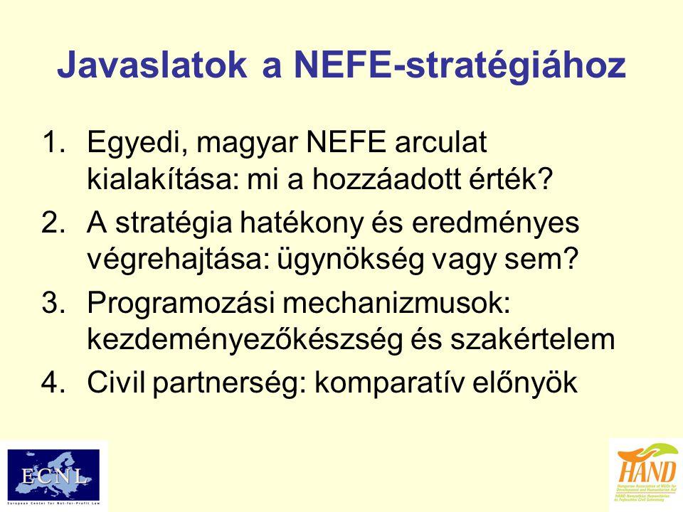 Javaslatok a NEFE-stratégiához 1.Egyedi, magyar NEFE arculat kialakítása: mi a hozzáadott érték? 2.A stratégia hatékony és eredményes végrehajtása: üg