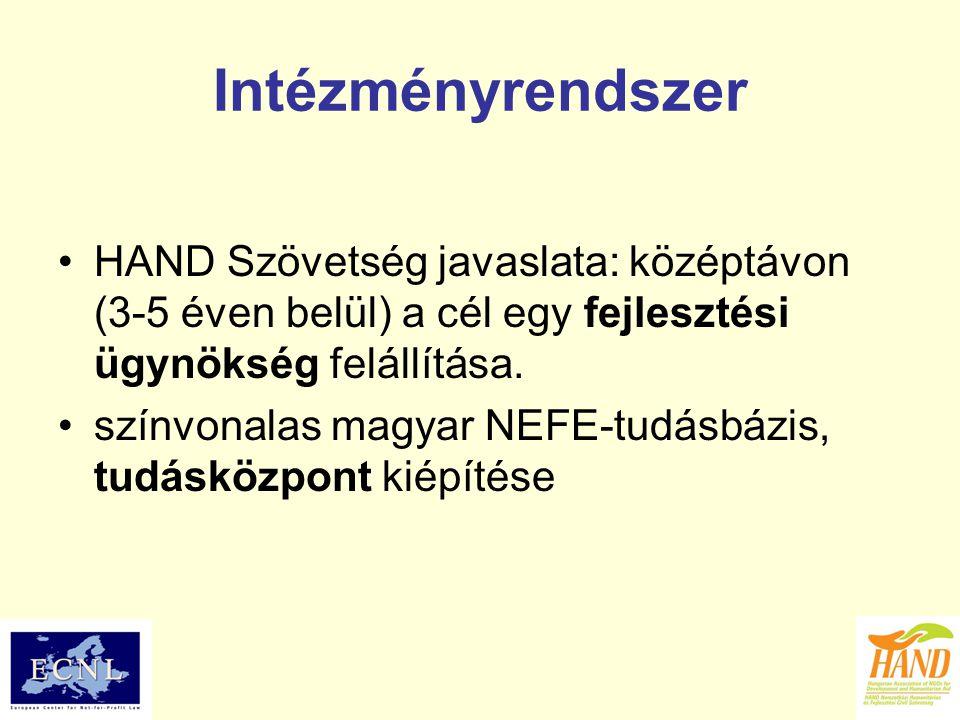 Intézményrendszer HAND Szövetség javaslata: középtávon (3-5 éven belül) a cél egy fejlesztési ügynökség felállítása. színvonalas magyar NEFE-tudásbázi