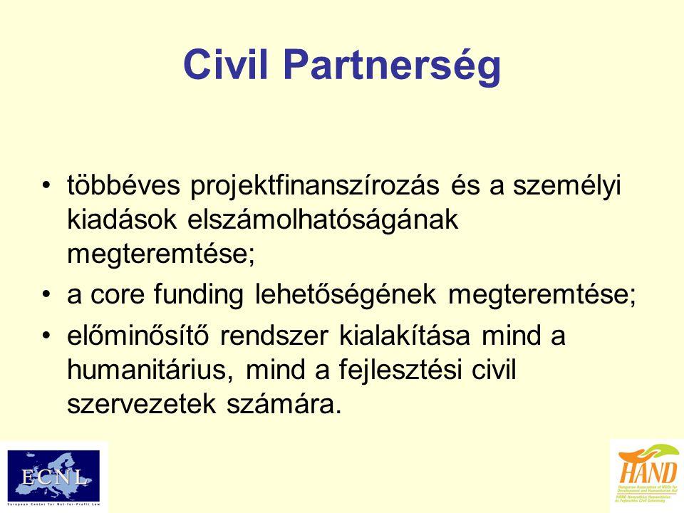Civil Partnerség többéves projektfinanszírozás és a személyi kiadások elszámolhatóságának megteremtése; a core funding lehetőségének megteremtése; elő
