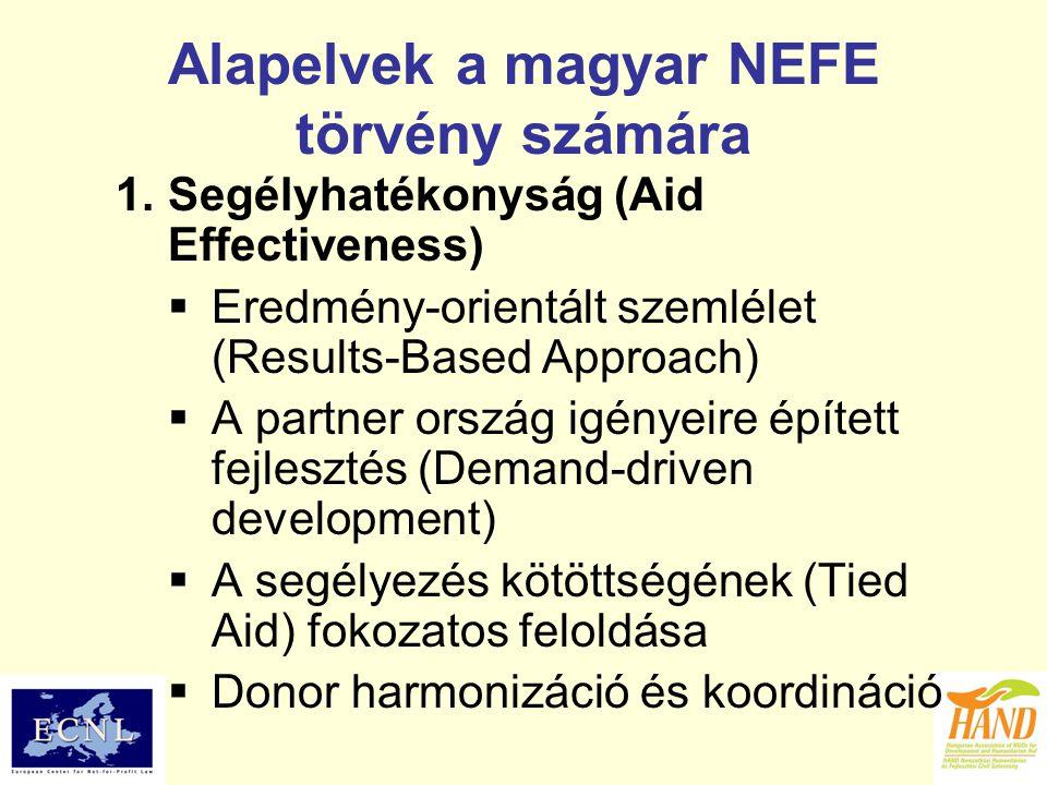 Alapelvek a magyar NEFE törvény számára 1.Segélyhatékonyság (Aid Effectiveness)  Eredmény-orientált szemlélet (Results-Based Approach)  A partner or