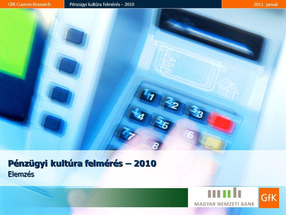 GfK Custom ResearchPénzügyi kultúra felmérés – 20102011. január Pénzügyi kultúra felmérés – 2010 Elemzés