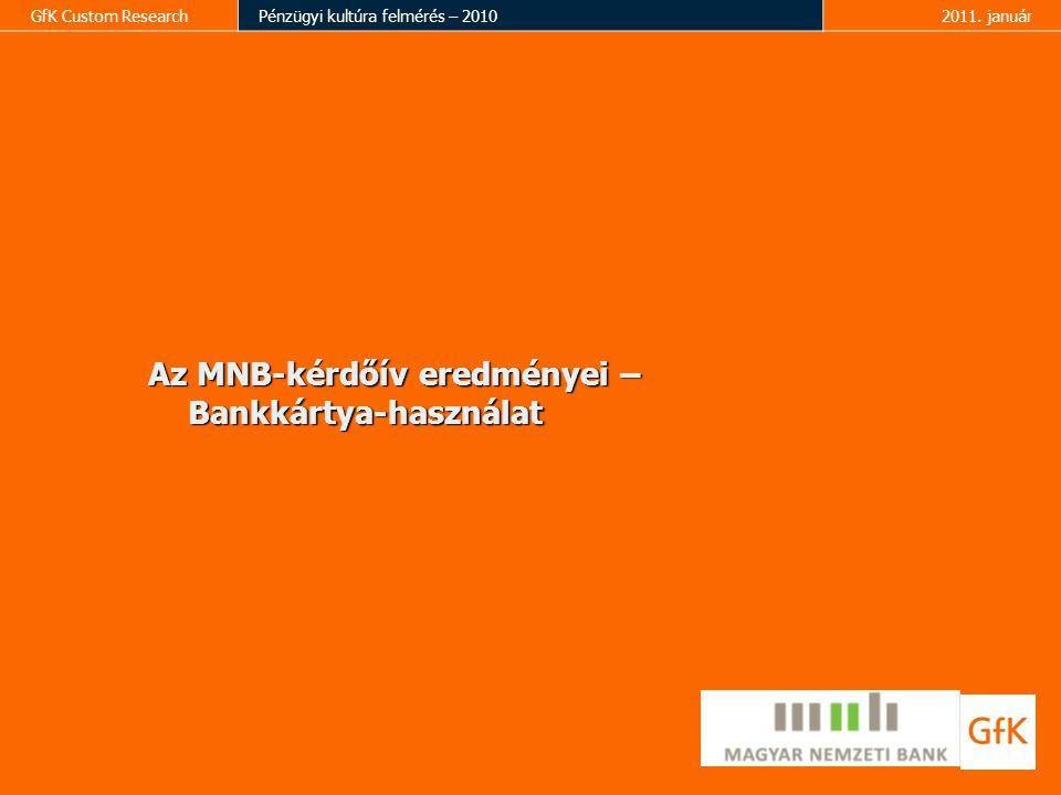 GfK Custom ResearchPénzügyi kultúra felmérés – 20102011. január Az MNB-kérdőív eredményei – Bankkártya-használat