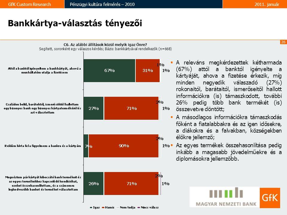 26 GfK Custom ResearchPénzügyi kultúra felmérés – 20102011.