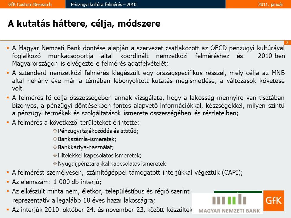 3 GfK Custom ResearchPénzügyi kultúra felmérés – 20102011. január A kutatás háttere, célja, módszere  A Magyar Nemzeti Bank döntése alapján a szervez