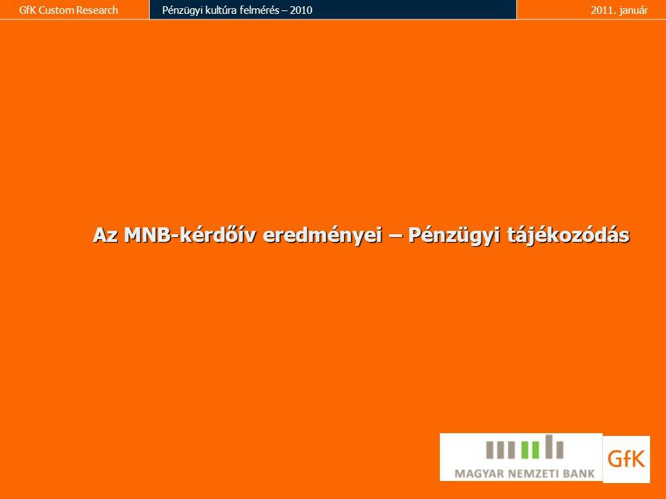 GfK Custom ResearchPénzügyi kultúra felmérés – 20102011. január Az MNB-kérdőív eredményei – Pénzügyi tájékozódás