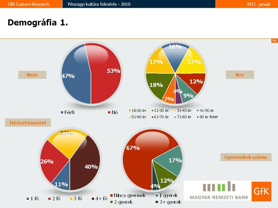 46 GfK Custom ResearchPénzügyi kultúra felmérés – 20102011. január Demográfia 1. Nem Gyermekek száma Háztartásméret Kor