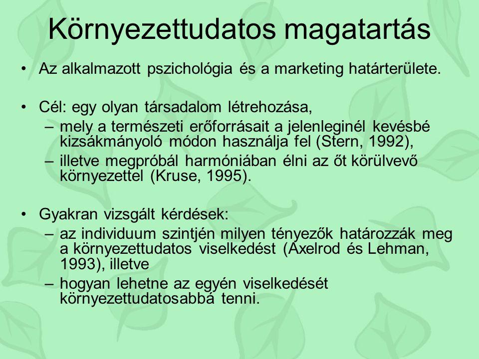 Környezettudatos magatartás Az alkalmazott pszichológia és a marketing határterülete. Cél: egy olyan társadalom létrehozása, –mely a természeti erőfor