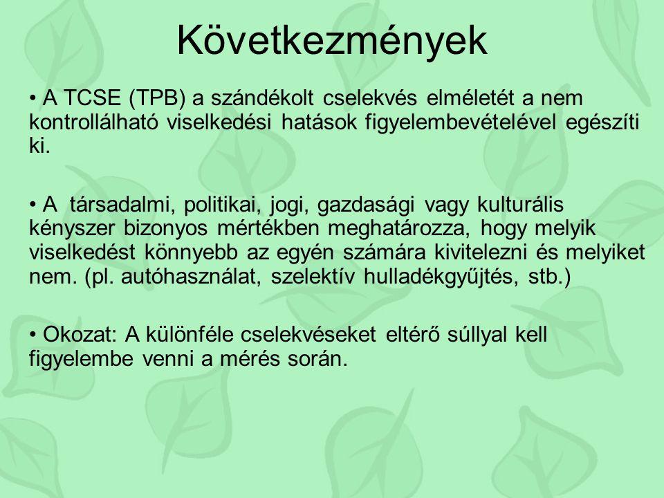 Következmények A TCSE (TPB) a szándékolt cselekvés elméletét a nem kontrollálható viselkedési hatások figyelembevételével egészíti ki. A társadalmi, p