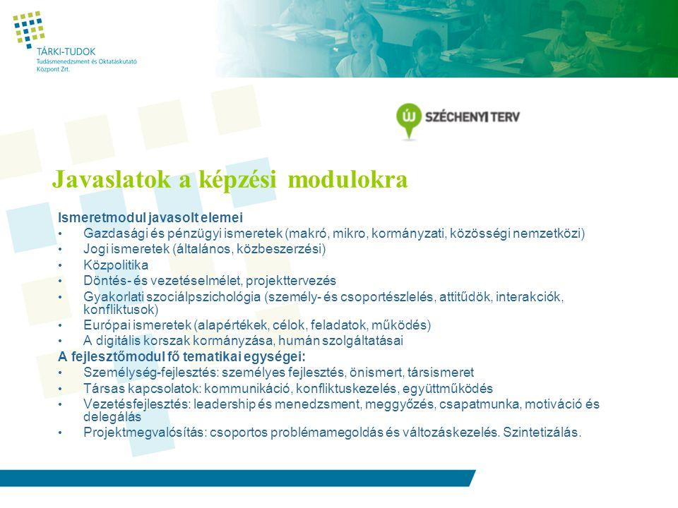 Javaslatok a képzési modulokra Ismeretmodul javasolt elemei Gazdasági és pénzügyi ismeretek (makró, mikro, kormányzati, közösségi nemzetközi) Jogi ismeretek (általános, közbeszerzési) Közpolitika Döntés- és vezetéselmélet, projekttervezés Gyakorlati szociálpszichológia (személy- és csoportészlelés, attitűdök, interakciók, konfliktusok) Európai ismeretek (alapértékek, célok, feladatok, működés) A digitális korszak kormányzása, humán szolgáltatásai A fejlesztőmodul fő tematikai egységei: Személység-fejlesztés: személyes fejlesztés, önismert, társismeret Társas kapcsolatok: kommunikáció, konfliktuskezelés, együttműködés Vezetésfejlesztés: leadership és menedzsment, meggyőzés, csapatmunka, motiváció és delegálás Projektmegvalósítás: csoportos problémamegoldás és változáskezelés.