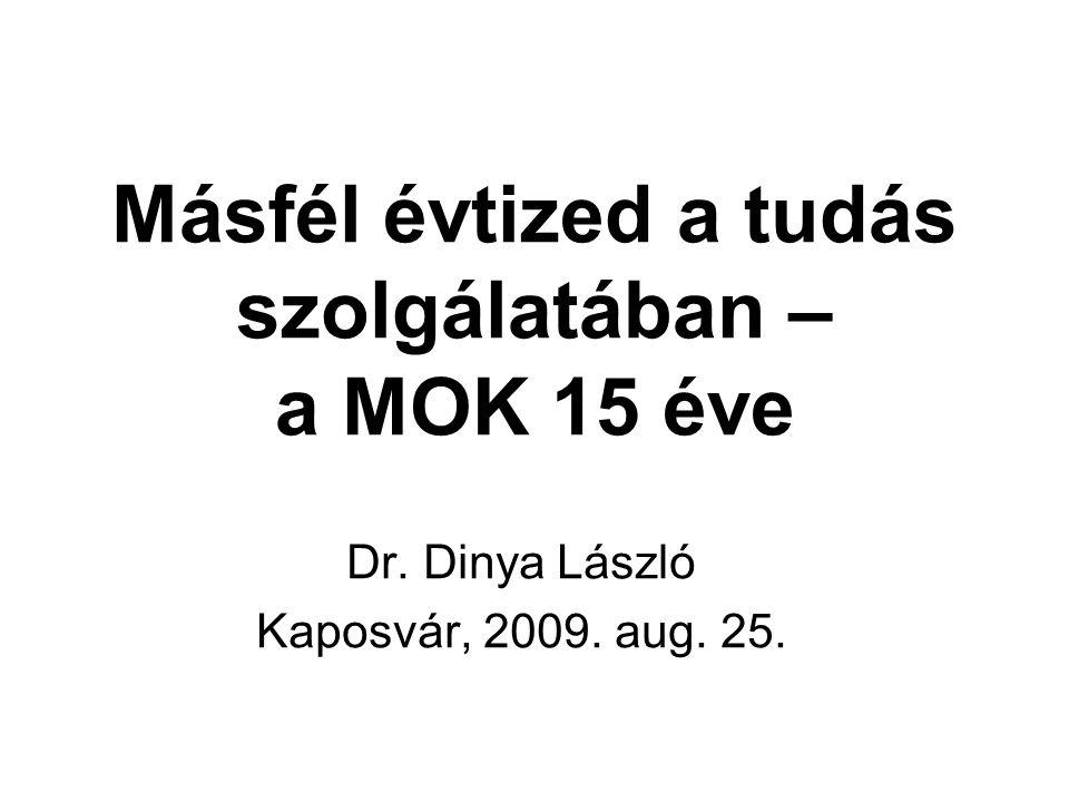 Másfél évtized a tudás szolgálatában – a MOK 15 éve Dr. Dinya László Kaposvár, 2009. aug. 25.
