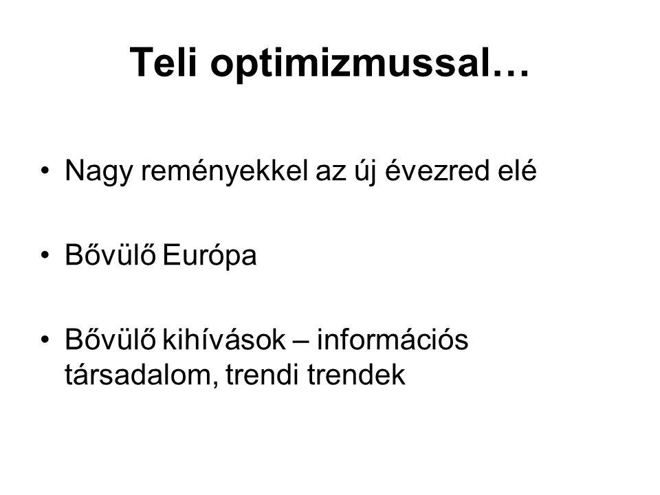 Teli optimizmussal… Nagy reményekkel az új évezred elé Bővülő Európa Bővülő kihívások – információs társadalom, trendi trendek