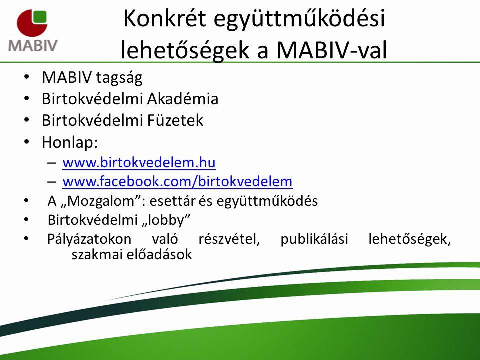 Konkrét együttműködési lehetőségek a MABIV-val MABIV tagság Birtokvédelmi Akadémia Birtokvédelmi Füzetek Honlap: – www.birtokvedelem.hu www.birtokvede