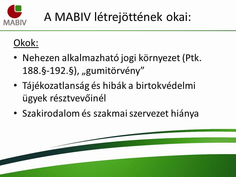 A MABIV céljai: Egységes birtokvédelmi joggyakorlat és jogértelmezés kialakításának elősegítése Szakmai együttműködések kialakítása Birtokvédelmi ismeretek terjesztése Szakirányú kutatások elősegítése, támogatása