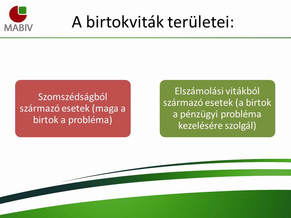 A birtokviták területei: Szomszédságból származó esetek (maga a birtok a probléma) Elszámolási vitákból származó esetek (a birtok a pénzügyi probléma