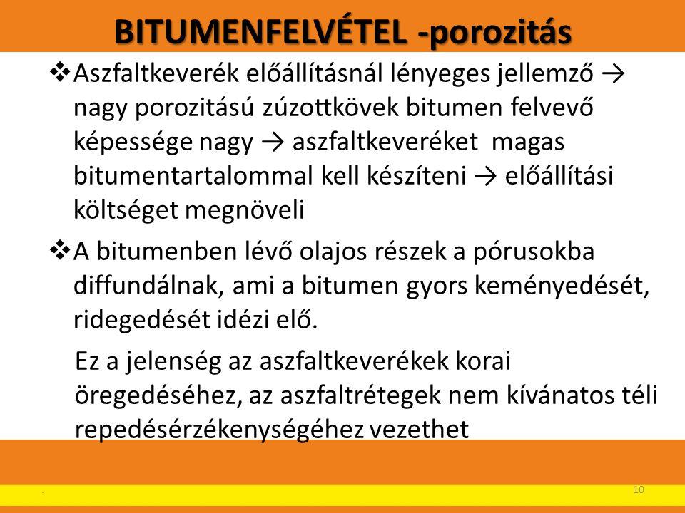 BITUMENFELVÉTEL -porozitás  Aszfaltkeverék előállításnál lényeges jellemző → nagy porozitású zúzottkövek bitumen felvevő képessége nagy → aszfaltkeve