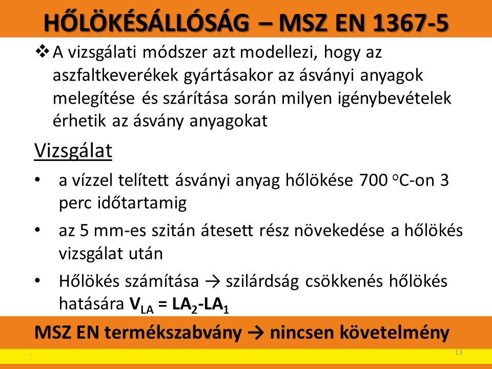 HŐLÖKÉSÁLLÓSÁG – MSZ EN 1367-5  A vizsgálati módszer azt modellezi, hogy az aszfaltkeverékek gyártásakor az ásványi anyagok melegítése és szárítása s