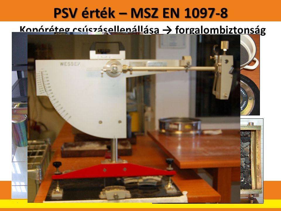 PSV érték – MSZ EN 1097-8 Kopóréteg csúszásellenállása → forgalombiztonság Követelmény: Kopóréteg F kategória → PSV 50.19