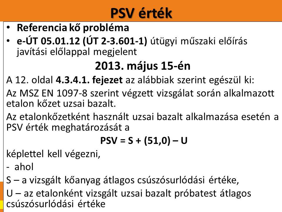 PSV érték.20 Referencia kő probléma e-ÚT 05.01.12 (ÚT 2-3.601-1) útügyi műszaki előírás javítási előlappal megjelent 2013. május 15-én A 12. oldal 4.3