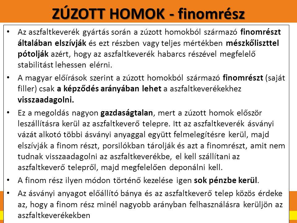 ZÚZOTT HOMOK - finomrész.22 Az aszfaltkeverék gyártás során a zúzott homokból származó finomrészt általában elszívják és ezt részben vagy teljes mérté