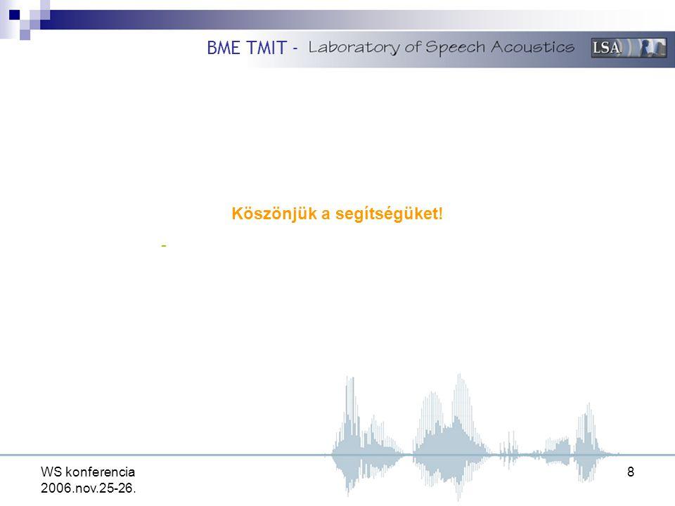 WS konferencia 2006.nov.25-26. 8 Köszönjük a segítségüket! - BME TMIT -