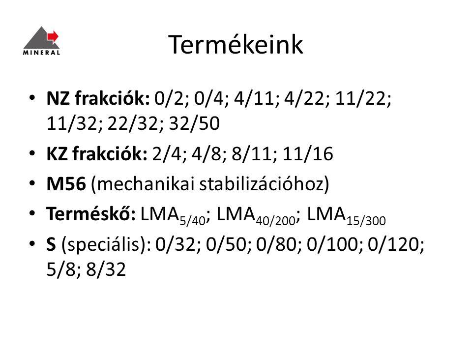 Termékeink NZ frakciók: 0/2; 0/4; 4/11; 4/22; 11/22; 11/32; 22/32; 32/50 KZ frakciók: 2/4; 4/8; 8/11; 11/16 M56 (mechanikai stabilizációhoz) Terméskő: LMA 5/40 ; LMA 40/200 ; LMA 15/300 S (speciális): 0/32; 0/50; 0/80; 0/100; 0/120; 5/8; 8/32