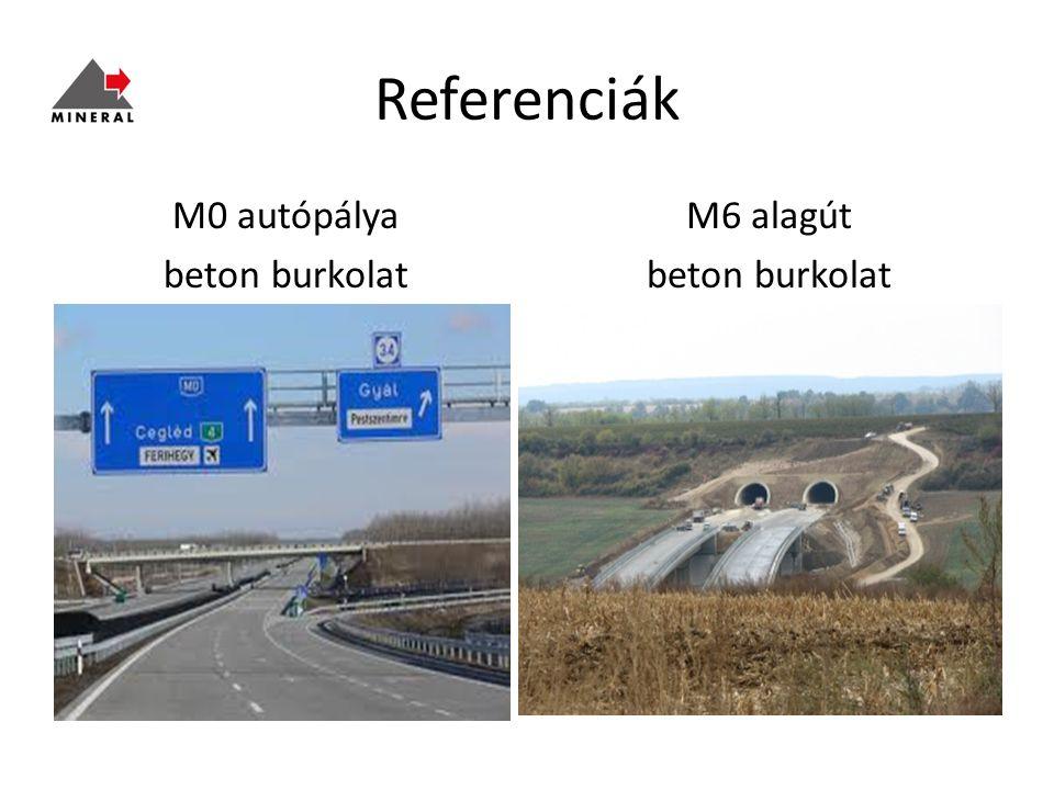 Referenciák M0 autópálya beton burkolat M6 alagút beton burkolat