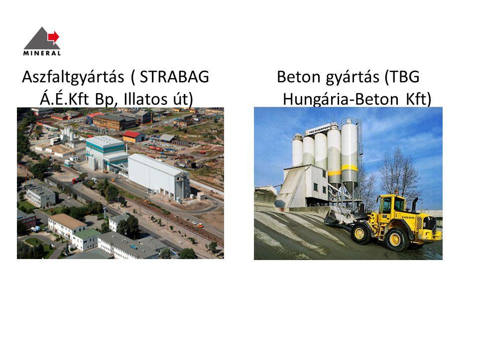 Aszfaltgyártás ( STRABAG Á.É.Kft Bp, Illatos út) Beton gyártás (TBG Hungária-Beton Kft) Mohács