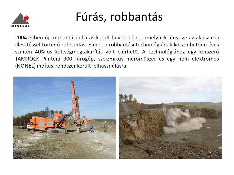 Fúrás, robbantás 2004.évben új robbantási eljárás került bevezetésre, amelynek lényege az akusztikai illesztéssel történő robbantás.
