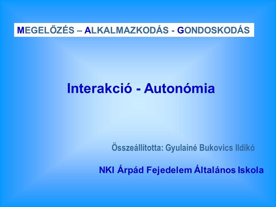 Összeállította: Gyulainé Bukovics Ildikó MEGELŐZÉS – ALKALMAZKODÁS - GONDOSKODÁS NKI Árpád Fejedelem Általános Iskola Interakció - Autonómia