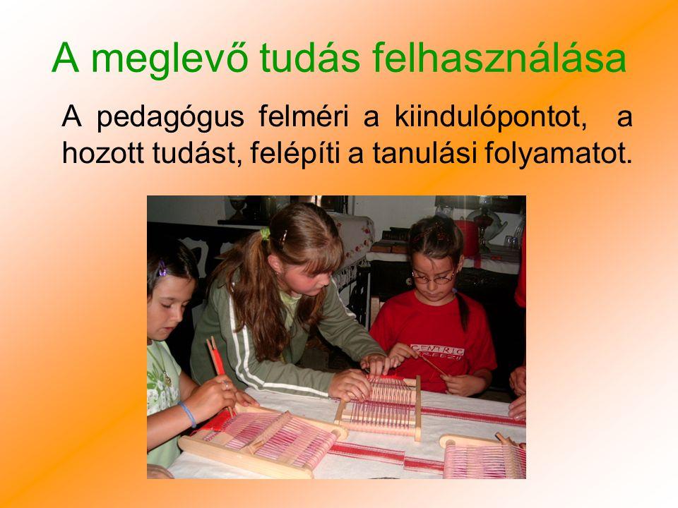 A meglevő tudás felhasználása A pedagógus felméri a kiindulópontot, a hozott tudást, felépíti a tanulási folyamatot.