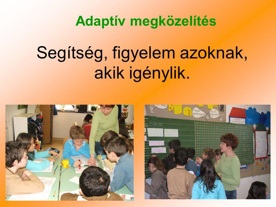 Tanulói kezdeményezések Hagyományos módszer Adaptív módszer Magyarázatok, tanítás Gyakorlás Nincs lehetőség a tanulói kezdeményezésekre A gyerek kezdeményezhet Érzelmileg érintett a témában Figyelem Tanári irányítás, bátorító környezet megteremtése