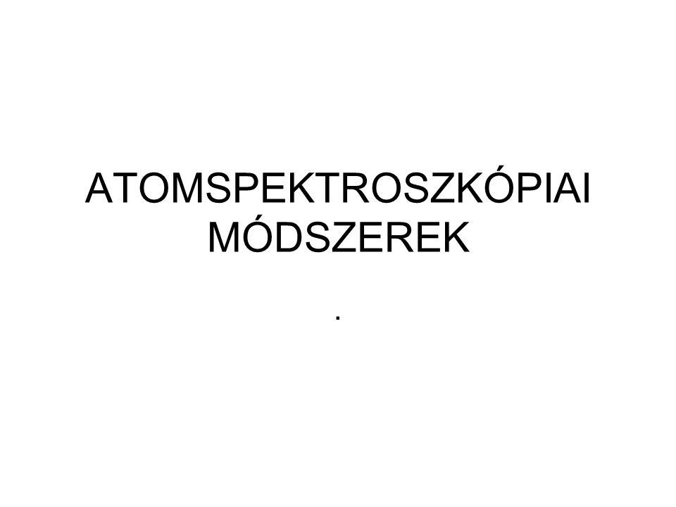 A spektroszkópiai módszerek csoportosítása (atomspektroszkópiai módszerek A, molekulaspektroszkópiai módszerek M) Hullámhossz-tartománySpektroszkópiai módszerFolyamat gamma 0,5-10 pm Mössbauer v.