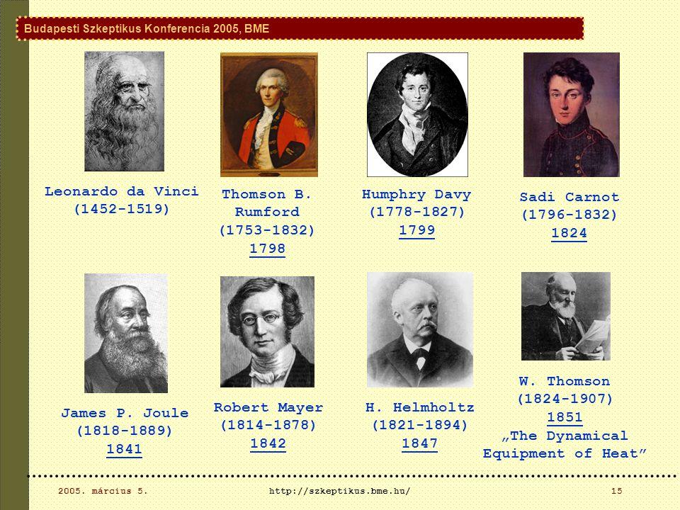 Budapesti Szkeptikus Konferencia 2005, BME 2005. március 5.http://szkeptikus.bme.hu/15 Leonardo da Vinci (1452-1519) Thomson B. Rumford (1753-1832) 17