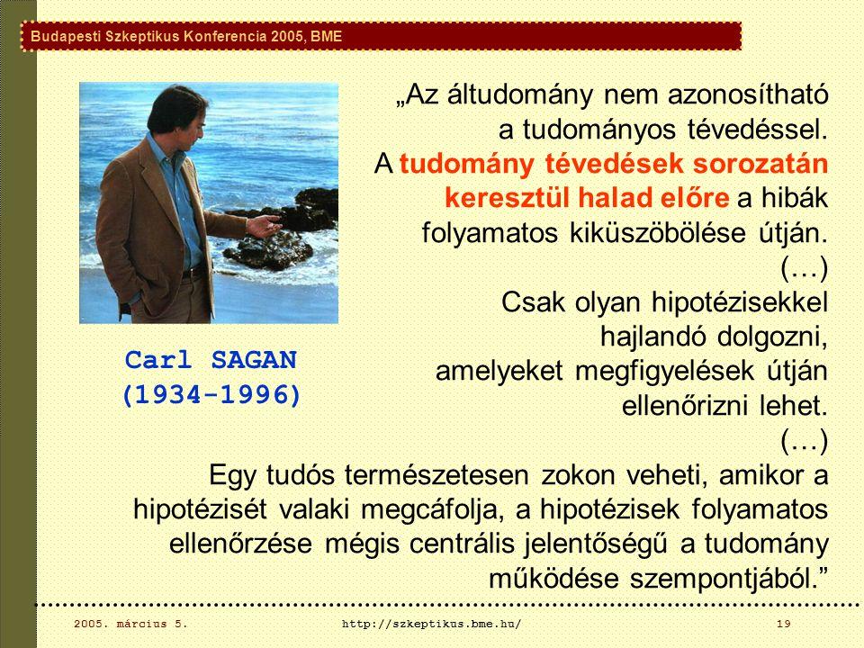 Budapesti Szkeptikus Konferencia 2005, BME 2005.