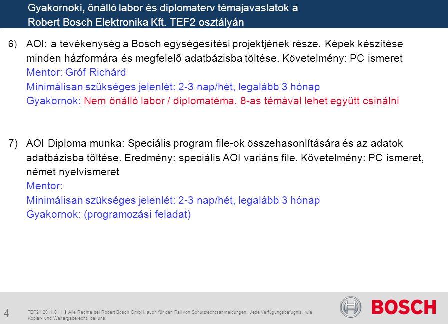 6) AOI: a tevékenység a Bosch egységesítési projektjének része. Képek készítése minden házformára és megfelelő adatbázisba töltése. Követelmény: PC is