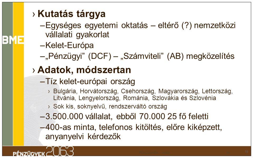 """›Kutatás tárgya –Egységes egyetemi oktatás – eltérő (?) nemzetközi vállalati gyakorlat –Kelet-Európa –""""Pénzügyi"""" (DCF) – """"Számviteli"""" (AB) megközelíté"""
