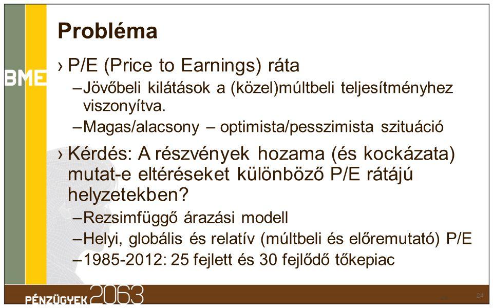 Probléma ›P/E (Price to Earnings) ráta –Jövőbeli kilátások a (közel)múltbeli teljesítményhez viszonyítva. –Magas/alacsony – optimista/pesszimista szit