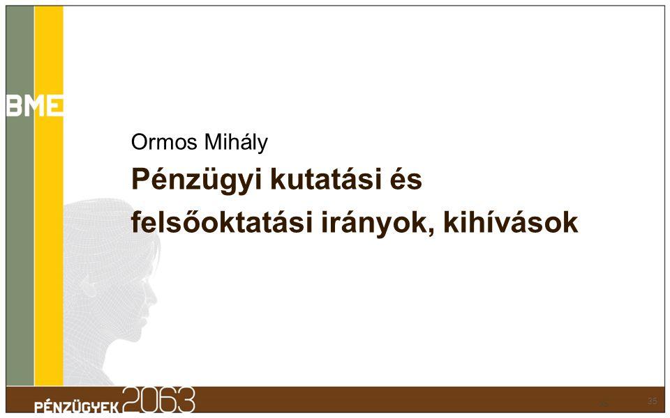 Ormos Mihály Pénzügyi kutatási és felsőoktatási irányok, kihívások 35