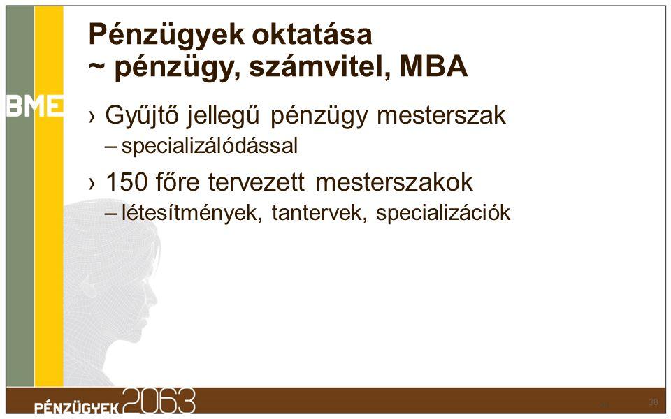 Pénzügyek oktatása ~ pénzügy, számvitel, MBA ›Gyűjtő jellegű pénzügy mesterszak –specializálódással ›150 főre tervezett mesterszakok –létesítmények, t