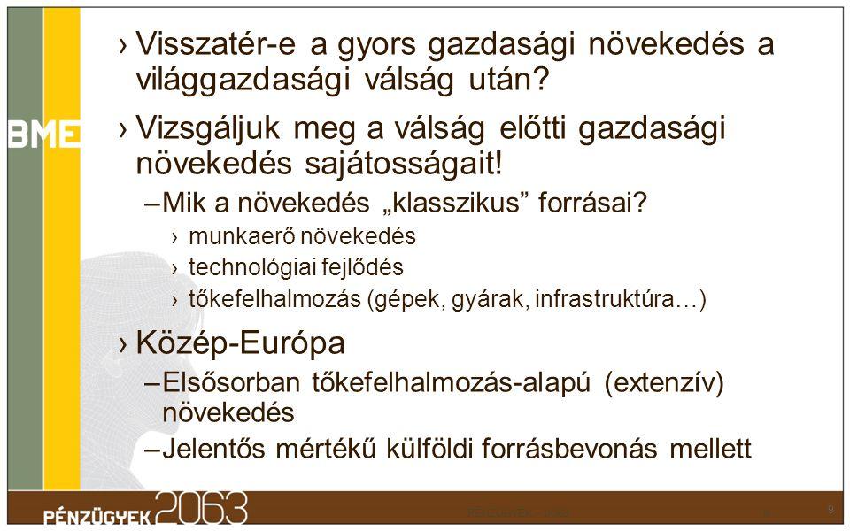 A tőkefelhalmozás finanszírozása (1996-2007-es átlag, Eurostat adatok) 10