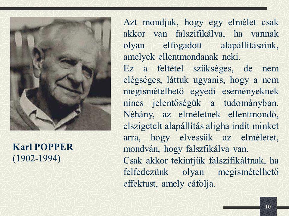 10 Karl POPPER (1902-1994) Azt mondjuk, hogy egy elmélet csak akkor van falszifikálva, ha vannak olyan elfogadott alapállításaink, amelyek ellentmondanak neki.